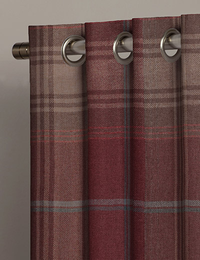 curtain woven check stirling red next made to measure. Black Bedroom Furniture Sets. Home Design Ideas