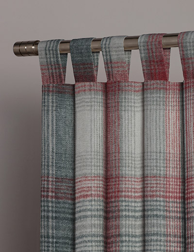 curtain details for cosy check red next made to measure. Black Bedroom Furniture Sets. Home Design Ideas