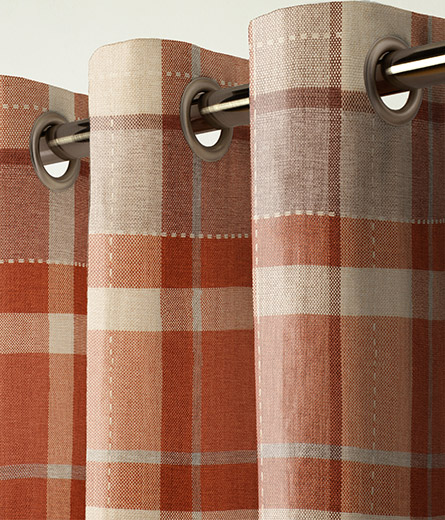 Curtain Rustic Woven Check Ginger Next Made To Measure