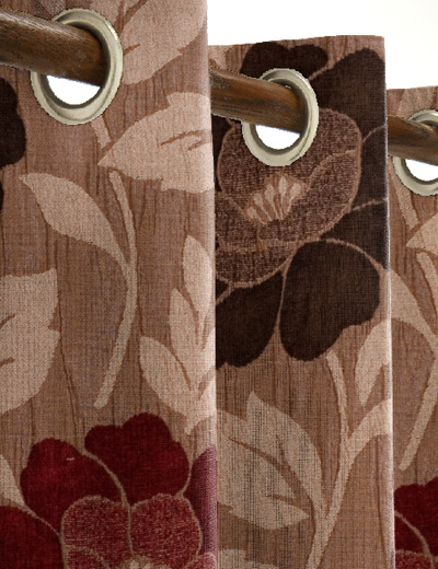 Curtain details for FLOELLA, WINE/CHOCOLATE   Curtain Express