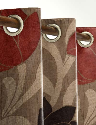 Curtain Details For Lucille Red Brown Curtain Express