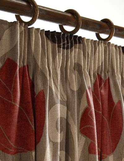 ... Curtains: Brown leaf pattern curtains. Chocolate brown striped