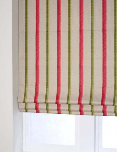 Curtain Summer Fayre Stripe Fuschia Green