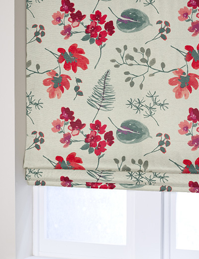 Curtain Details For Linen Look Bold Floral Red Next