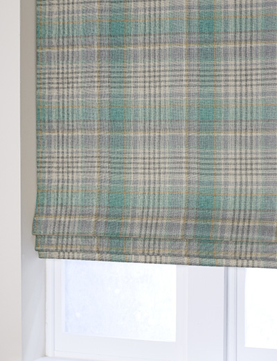 Curtain Padstow Woven Check Teal Next Made To Measure