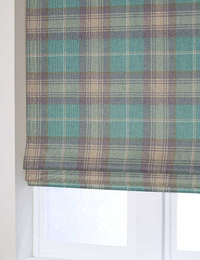 Curtain Woven Check Stirling Aw16 Teal Next Made To Measure
