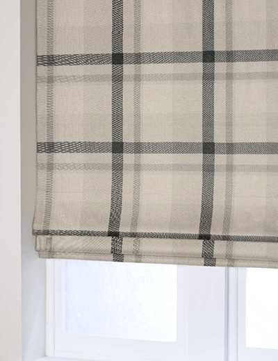 Curtain Oversized Check Natural Grey Next Made To Measure